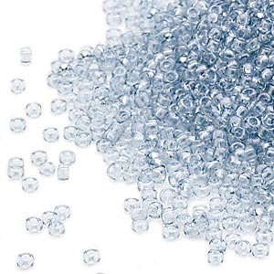seed bead, miyuki, glass, transparent silver luster clear, (rr174), #15 rocaille. sold per 250-gram pkg.
