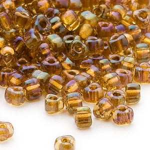 seed bead, miyuki, glass, transparent yellow color-lined gold, (tr1126), #5 triangle. sold per 25-gram pkg.