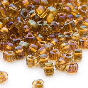 seed bead, miyuki, glass, transparent yellow color-lined gold, (tr1126), #5 triangle. sold per 250-gram pkg.