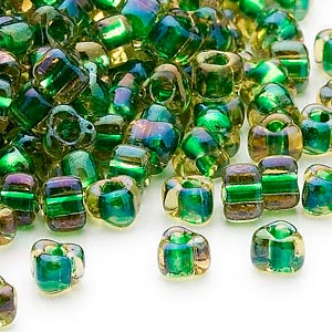 seed bead, miyuki, glass, transparent yellow color-lined green, (tr1165), #5 triangle. sold per 25-gram pkg.