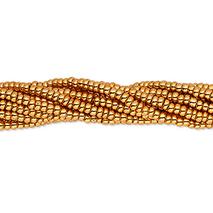 seed bead, preciosa, czech glass, opaque dark metallic gold, #11 round. sold per 1/2 kilogram pkg.