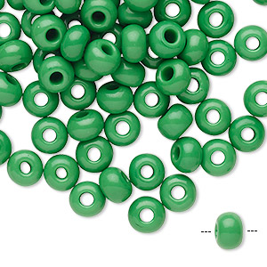 seed bead, preciosa, czech glass, opaque green, #2 rocaille. sold per pkg of 100.