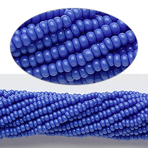 seed bead, preciosa, czech glass, opaque medium blue, #11 round. sold per 1/2 kilogram pkg.