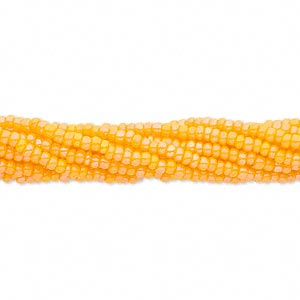 seed bead, preciosa, czech glass, opaque rainbow orange, #11 round. sold per 1/2 kilogram pkg.