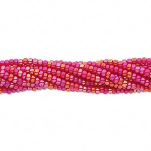 seed bead, preciosa, czech glass, opaque rainbow red, #11 round. sold per hank.