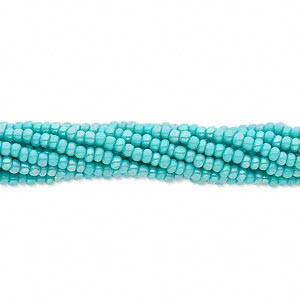 seed bead, preciosa, czech glass, opaque rainbow sea green, #11 round. sold per 1/2 kilogram pkg.