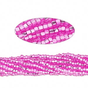 seed bead, preciosa, czech glass, silver-lined translucent dark pink, #11 round with square hole. sold per 1/2 kilogram pkg.
