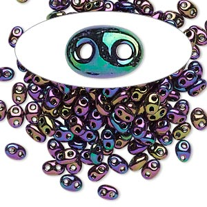 seed bead, preciosa twin™, czech glass, opaque iris rose, 5x2.5mm oval with 2 holes. sold per 10-gram pkg.