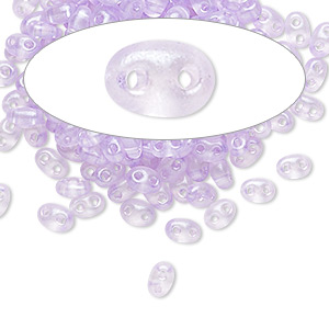 seed bead, preciosa twin™, czech glass, transparent lavender terra pearl, 5x2.5mm oval with 2 holes. sold per 50-gram pkg.