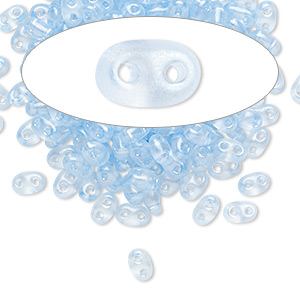 seed bead, preciosa twin™, czech glass, transparent light blue terra pearl, 5x2.5mm oval with 2 holes. sold per 50-gram pkg.