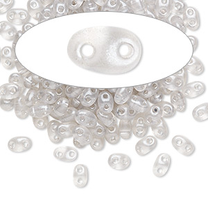 seed bead, preciosa twin™, czech glass, transparent light grey terra pearl, 5x2.5mm oval with 2 holes. sold per 50-gram pkg.