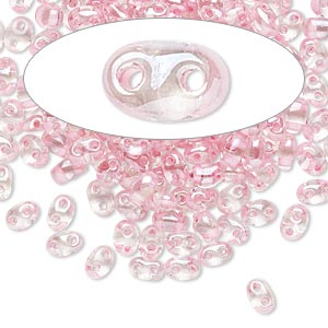 seed bead, preciosa twin™, czech glass, transparent pink-lined clear terra, 5x2.5mm oval with 2 holes. sold per 10-gram pkg.