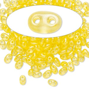 seed bead, preciosa twin™, czech glass, transparent yellow terra pearl, 5x2.5mm oval with 2 holes. sold per 10-gram pkg.