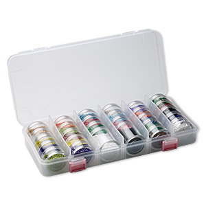 seed bead starter set, clear plastic case with multicolored beads, 10-3/4 x 5 x 1-3/4 inch rectangle with 28 stackable jars, filled. sold individually.