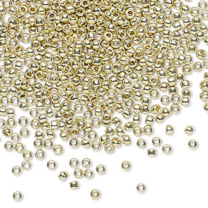 seed bead, toho beads, glass, permafinish opaque galvanized yellow gold, (tr-11-pf559), #11 round. sold per 50-gram pkg.