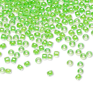 seed bead, toho beads, glass, translucent luminous neon green, (tr-11-805), #11 round. sold per 7.5-gram pkg.