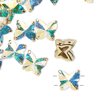 sew-on component, preciosa czech crystal and gold-plated brass, transparent crystal ab, 10mm single-sided faceted butterfly with 2 holes. sold per pkg of 12.