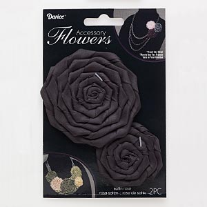 sew-on component, satin, black, 1-3/4 x 1-3/4 to 2x2-inch and 3x3 to 3-1/4 x 3-1/4 inch rose. sold per pkg of 2.