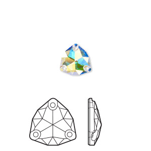 sew-on component, swarovski crystal rhinestone, crystal ab, foil back, 16mm faceted trilliant (3272). sold per pkg of 24.