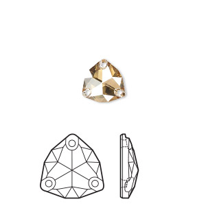 sew-on component, swarovski crystal rhinestone, crystal golden shadow, foil back, 16mm faceted trilliant (3272). sold per pkg of 24.