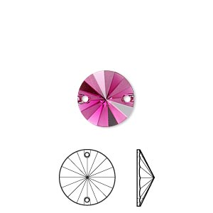 sew-on component, swarovski crystal rhinestone, crystal passions, fuchsia half matte, foil back, 12mm faceted rivoli flat back (3200/g). sold per pkg of 4.