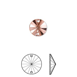 sew-on component, swarovski crystal rhinestone, crystal passions, rose peach p half matte, foil back, 10mm faceted rivoli flat back (3200/g). sold per pkg of 6.