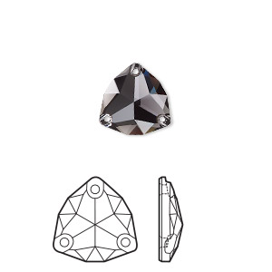 sew-on component, swarovski crystal rhinestone, graphite, foil back, 20mm faceted trilliant (3272). sold per pkg of 15.