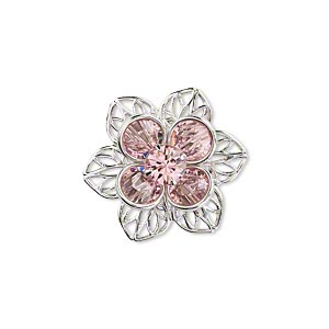sew-on component, swarovski crystals and rhodium-finished brass, light rose, 22mm flower. sold individually.