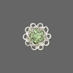 sew-on component, swarovski crystals and rhodium-finished brass, peridot, 17mm filigree flower. sold individually.