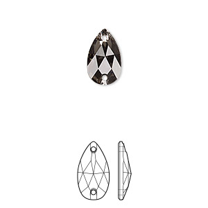 sew-on component, swarovski crystals, black diamond, foil back, 12x7mm faceted pear flat back with 2 holes (3230). sold per pkg of 96.