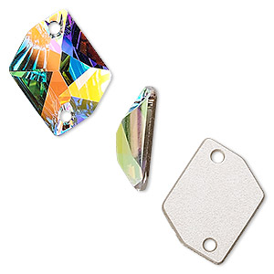 sew-on component, swarovski crystals, crystal ab, 20x16mm flat back faceted cosmic (3265). sold individually.