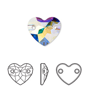 sew-on component, swarovski crystals, crystal ab, foil back, 16mm faceted heart with 2 holes (3259). sold per pkg of 30.