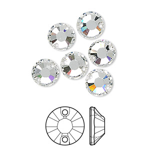 sew-on component, swarovski crystals, crystal clear, 8mm flat foil back xilion (3204). sold per pkg of 72.