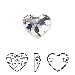 sew-on component, swarovski crystals, crystal clear, foil back, 16mm faceted heart with 2 holes (3259). sold per pkg of 30.
