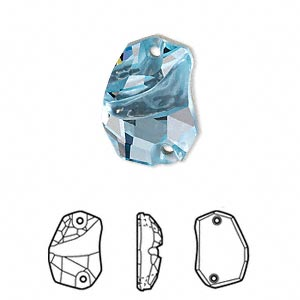 sew-on component, swarovski crystals, crystal passions, aquamarine, foil back, 19x13mm faceted divine rock flat back with 2 holes (3257). sold per pkg of 6.