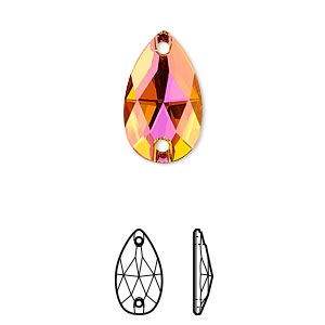 sew-on component, swarovski crystals, crystal passions, crystal astral pink, foil back, 18x10.5mm faceted pear flat back with 2 holes (3230). sold per pkg of 2.