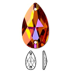 sew-on component, swarovski crystals, crystal passions, crystal astral pink, foil back, 28x17mm faceted pear flat back with 2 holes (3230). sold per pkg of 6.