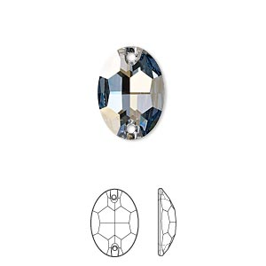 sew-on component, swarovski crystals, crystal passions, crystal blue shade, foil back, 16x11mm faceted oval flat back with 2 holes (3210). sold per pkg of 12.