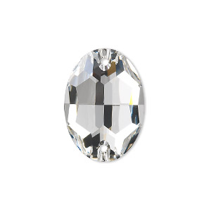 sew-on component, swarovski crystals, crystal passions, crystal clear, foil back, 24x17mm faceted oval flat back with 2 holes (3210). sold per pkg of 24.