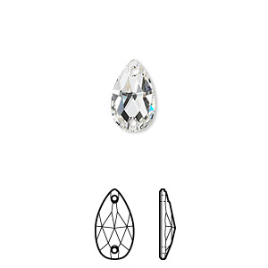 sew-on component, swarovski crystals, crystal passions, crystal clear, foil back, 12x7mm faceted pear flat back with 2 holes (3230). sold per pkg of 2.