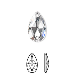 sew-on component, swarovski crystals, crystal passions, crystal clear, foil back, 18x10.5mm faceted pear flat back with 2 holes (3230). sold per pkg of 2.
