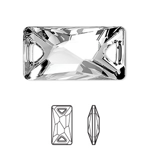 sew-on component, swarovski crystals, crystal passions, crystal clear, foil back, 30x15mm faceted space cut with 2 holes (3251). sold per pkg of 20.