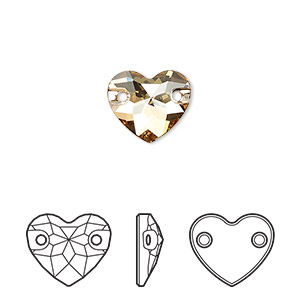 sew-on component, swarovski crystals, crystal passions, crystal golden shadow, foil back, 12mm faceted heart with 2 holes (3259). sold per pkg of 2.