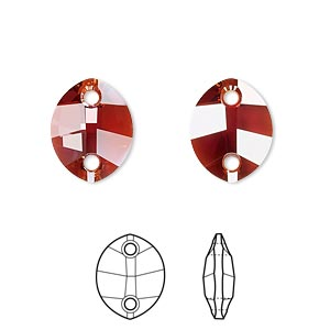 sew-on component, swarovski crystals, crystal passions, crystal red magma, 14x11mm faceted pure leaf with 2 holes (3224). sold per pkg of 12.