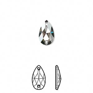 sew-on component, swarovski crystals, crystal passions, crystal satin, aluminum-foil back, 12x7mm faceted pear flat back with 2 holes (3230). sold per pkg of 12.