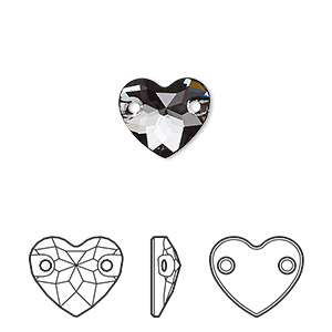 sew-on component, swarovski crystals, crystal passions, crystal silver night, foil back, 12mm faceted heart with 2 holes (3259). sold per pkg of 12.