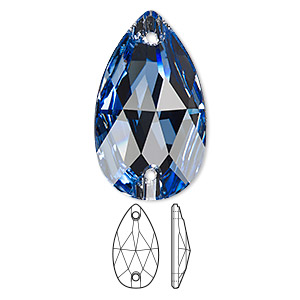sew-on component, swarovski crystals, crystal passions, light sapphire, foil back, 28x17mm faceted pear flat back with 2 holes (3230). sold per pkg of 6.