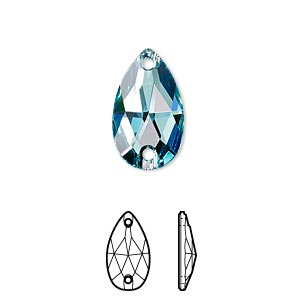 sew-on component, swarovski crystals, crystal passions, light turquoise, foil back, 18x10.5mm faceted pear flat back with 2 holes (3230). sold per pkg of 2.