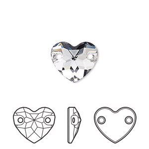 sew-on component, swarovski crystals, crystal passions, smoky mauve, foil back, 12mm faceted heart with 2 holes (3259). sold per pkg of 12.