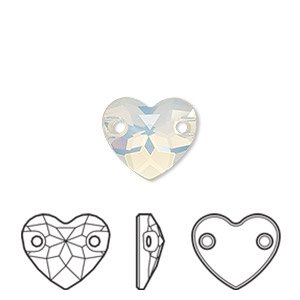 sew-on component, swarovski crystals, crystal passions, white opal, foil back, 12mm faceted heart with 2 holes (3259). sold per pkg of 12.